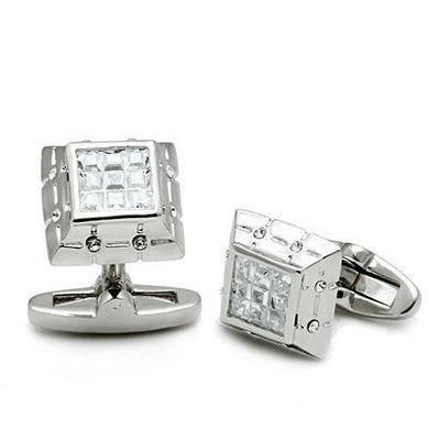 LO2306 - Rhodium Brass Cufflink with AAA Grade CZ  in Clear