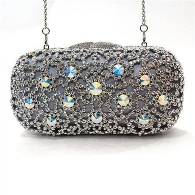 LO2364 - Imitation Rhodium White Metal Clutch with Top Grade Crystal  in White