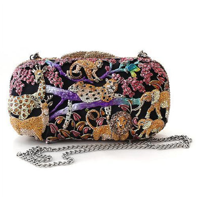 LO2373 - Gold White Metal Clutch with Top Grade Crystal  in Multi Color