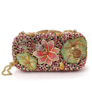 LO2375 - Ancientry Gold White Metal Clutch with Top Grade Crystal  in Multi Color