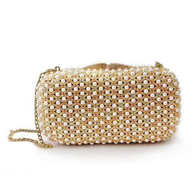LO2377 - Gold White Metal Clutch with Top Grade Crystal  in Multi Color