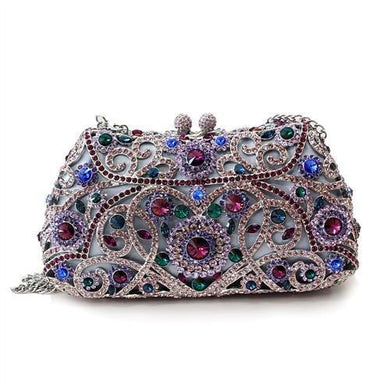LO2379 - Imitation Rhodium White Metal Clutch with Top Grade Crystal  in Multi Color