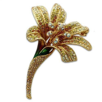 LO2390 - Gold White Metal Brooches with Top Grade Crystal  in Multi Color