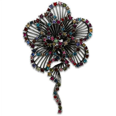 LO2395 - Imitation Rhodium White Metal Brooches with Top Grade Crystal  in Multi Color