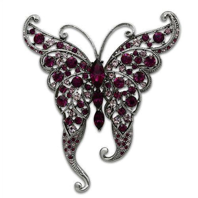 LO2396 - Imitation Rhodium White Metal Brooches with Top Grade Crystal  in Multi Color