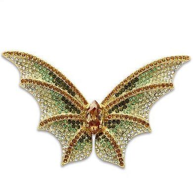 LO2400 - Gold White Metal Brooches with Top Grade Crystal  in Multi Color