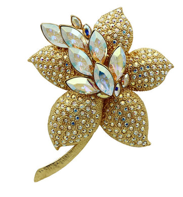 LO2402 - Gold White Metal Brooches with Top Grade Crystal  in Aurora Borealis (Rainbow Effect)