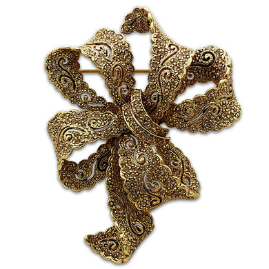 LO2403 - Gold White Metal Brooches with Top Grade Crystal  in Citrine Yellow