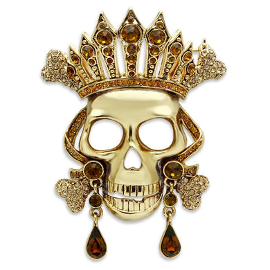 LO2407 - Gold White Metal Brooches with Top Grade Crystal  in Multi Color