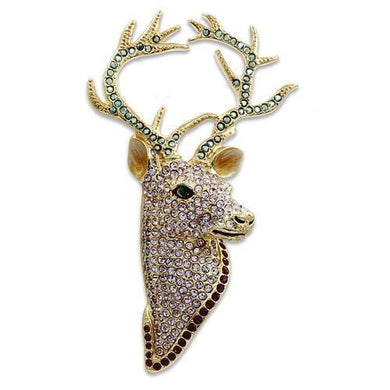 LO2410 - Gold White Metal Brooches with Top Grade Crystal  in Multi Color
