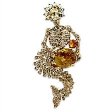 LO2411 - Gold White Metal Brooches with AAA Grade CZ  in Topaz