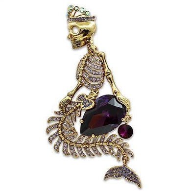 LO2412 - Gold White Metal Brooches with AAA Grade CZ  in Amethyst