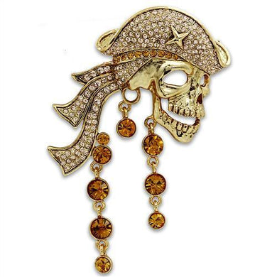 LO2415 - Gold White Metal Brooches with Top Grade Crystal  in Multi Color
