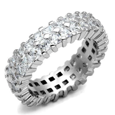 LO2431 - Rhodium Brass Ring with AAA Grade CZ  in Clear