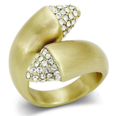 LO2466 - Gold & Brush Brass Ring with Top Grade Crystal  in Clear