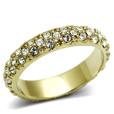 LO2480 - Gold Brass Ring with Top Grade Crystal  in Clear