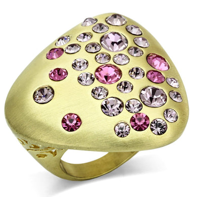 LO2534 - Gold & Brush Brass Ring with Top Grade Crystal  in Multi Color