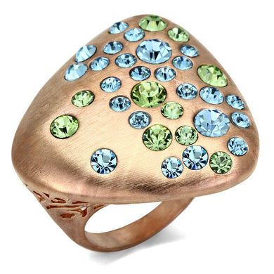 LO2535 - Rose Gold Brass Ring with Top Grade Crystal  in Multi Color