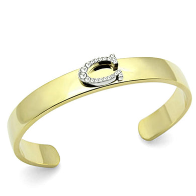 LO2572 - Gold+Rhodium White Metal Bangle with Top Grade Crystal  in Clear