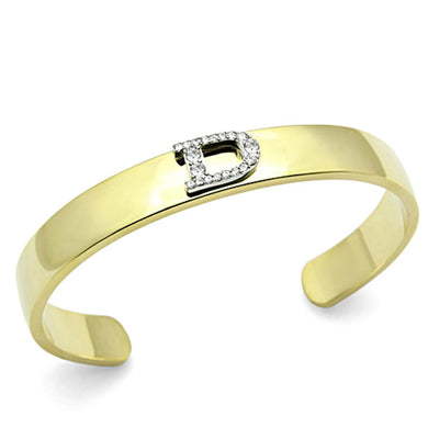 LO2573 - Gold+Rhodium White Metal Bangle with Top Grade Crystal  in Clear