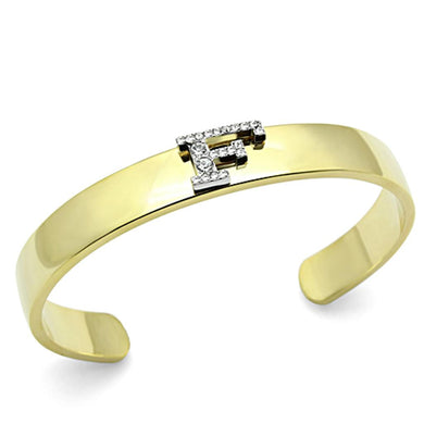 LO2575 - Gold+Rhodium White Metal Bangle with Top Grade Crystal  in Clear