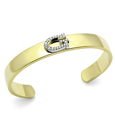 LO2576 - Gold+Rhodium White Metal Bangle with Top Grade Crystal  in Clear
