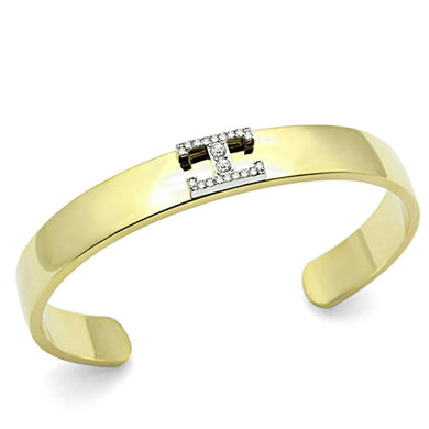 LO2578 - Gold+Rhodium White Metal Bangle with Top Grade Crystal  in Clear