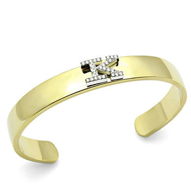 LO2580 - Gold+Rhodium White Metal Bangle with Top Grade Crystal  in Clear