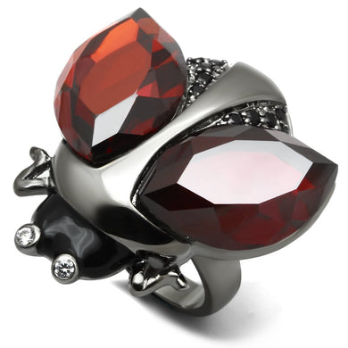LO2601 - Ruthenium Brass Ring with AAA Grade CZ  in Garnet