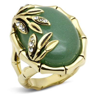 LO2609 - Gold Brass Ring with Semi-Precious Jade in Emerald