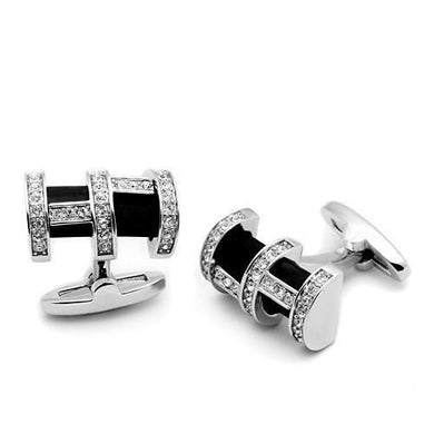 LO2629 - Rhodium Brass Cufflink with Top Grade Crystal  in Clear