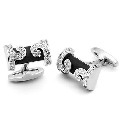 LO2630 - Rhodium Brass Cufflink with Top Grade Crystal  in Clear