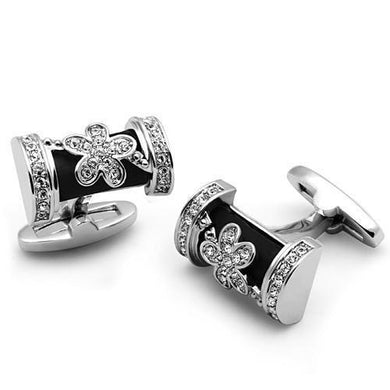 LO2632 - Rhodium Brass Cufflink with Top Grade Crystal  in Clear