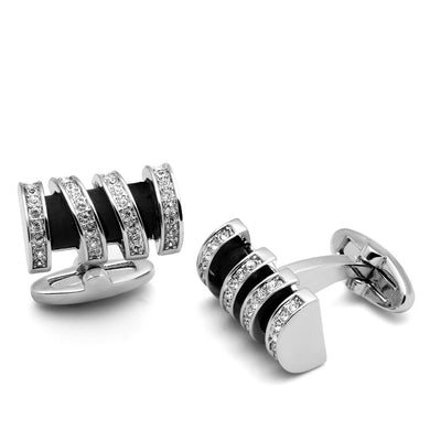 LO2633 - Rhodium Brass Cufflink with Top Grade Crystal  in Clear