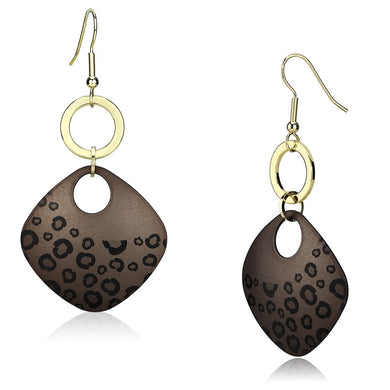 LO2701 - Special Color Iron Earrings with Epoxy  in Jet