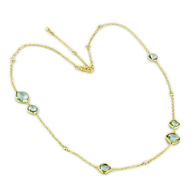 LO2703 - Gold Brass Necklace with Synthetic Synthetic Glass in Emerald