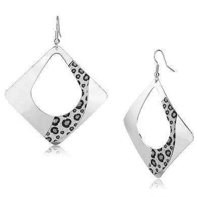 LO2718 - Rhodium Iron Earrings with No Stone
