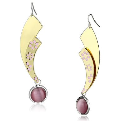 LO2731 - Gold+Rhodium Iron Earrings with Synthetic Cat Eye in Rose