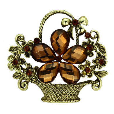 LO2760 - Antique Copper White Metal Brooches with Synthetic Acrylic in Smoked Quartz
