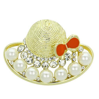 LO2764 - Flash Gold White Metal Brooches with Synthetic Pearl in White