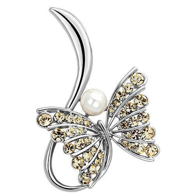 LO2765 - Imitation Rhodium White Metal Brooches with Synthetic Pearl in White