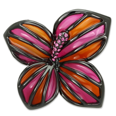 LO2766 - Ruthenium White Metal Brooches with Top Grade Crystal  in Rose