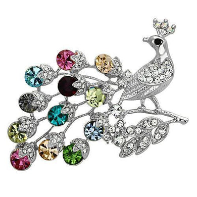 LO2769 - Imitation Rhodium White Metal Brooches with Top Grade Crystal  in Multi Color
