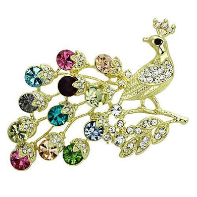 LO2770 - Flash Gold White Metal Brooches with Top Grade Crystal  in Multi Color