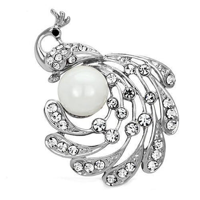 LO2777 - Imitation Rhodium White Metal Brooches with Synthetic Pearl in White