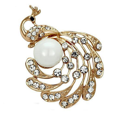 LO2778 - Flash Rose Gold White Metal Brooches with Synthetic Pearl in White