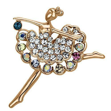 LO2782 - Flash Rose Gold White Metal Brooches with Top Grade Crystal  in Multi Color