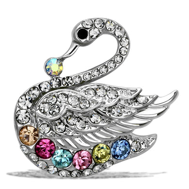 LO2788 - Imitation Rhodium White Metal Brooches with Top Grade Crystal  in Multi Color
