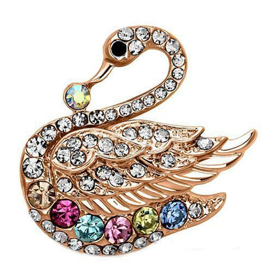 LO2789 - Flash Rose Gold White Metal Brooches with Top Grade Crystal  in Multi Color