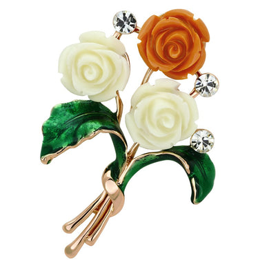 LO2790 - Flash Rose Gold White Metal Brooches with Synthetic Synthetic Stone in Multi Color